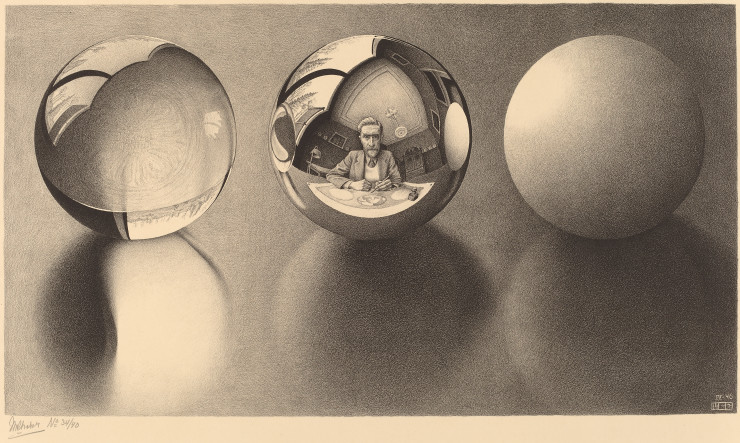 MC Escher, Three Spheres II, 1946, lithograph, Cornelius Van S. Roosevelt Collection All M.C. Escher works © Cordon Art-Baarn-the Netherlands. 1974.28.23