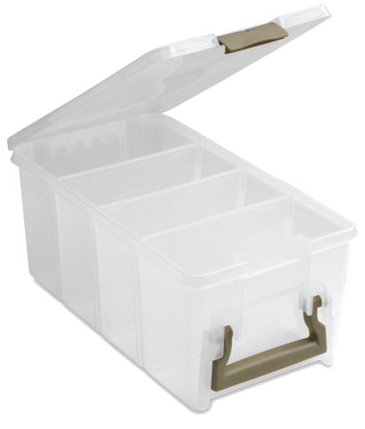 One (1) Art Supply Storage Bin. Plastic, From Found Objects, And/or DIY, OK!